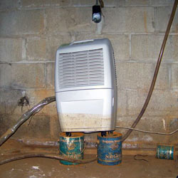 A dehumidifier in a Big Rapids wet crawl space