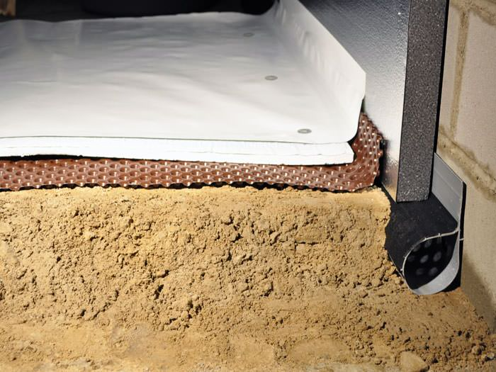 wonderful crawl space flooring #2: ... A crawl space encapsulation and insulation system, complete with  drainage matting for flooded crawl spaces ...