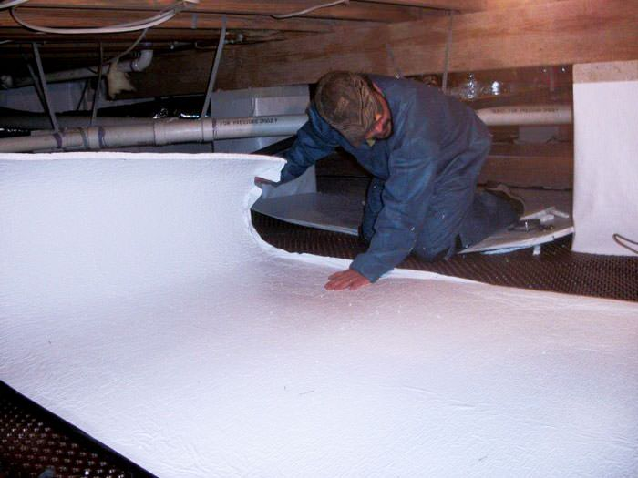 lovely crawl space flooring #1: ... Mount Pleasant insulation being installed in a crawl space.