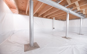 Crawl space structural support jacks installed in Gaylord